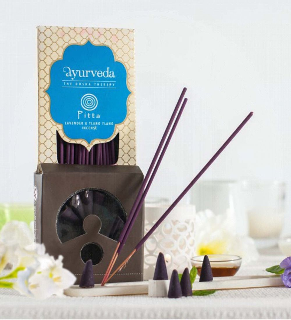 Lavender Ylang Ylang Ayurveda Dosha Theraphy Incense Sticks Cones Holder Gift