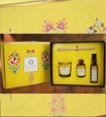 Yellow Luxurious Veda Gift set Candle, Room Spray & Reed Diffuser