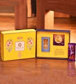 Song of India Rakhi Gift Set with Ittar / Perfume Oil for Men, Handmade Rakhi with Roli - Chaval Thali and Dairy Milk Chocolate, Packed in Beautiful and Compact Yellow Gift Box