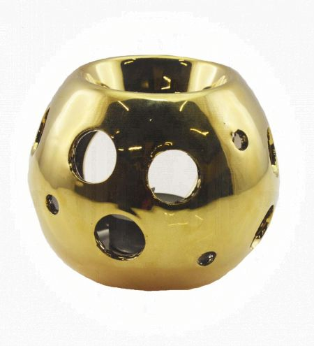 Spherical Gold Ceramic Burner with Circle Holes
