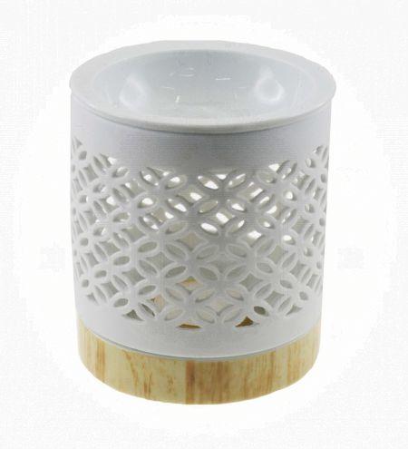 White Cylindrical Ceramic Burner with Overlapping Circle Jali & Detachable Wooden Finish Base