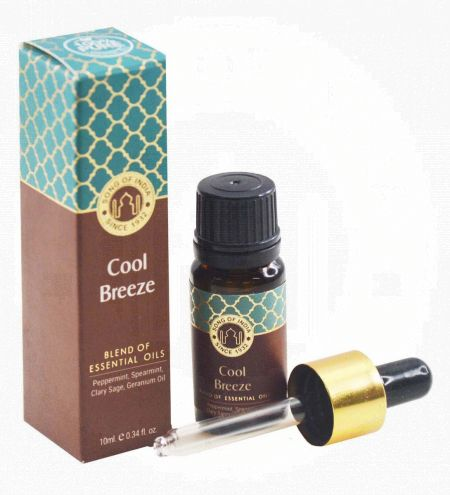 Cool Breeze Essential Oil Blend in Amber Glass Bottle With Golden Dropper