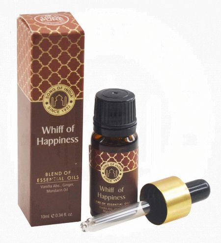 Whiff of Happiness Essential Oil Blend in Amber Glass Bottle With Golden Dropper