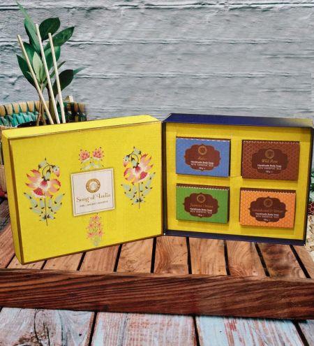 Yellow Luxurious Veda Handmade Glycerin Soap Gift Box (Set of 4)