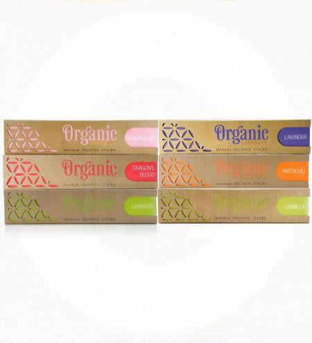 Organic Masala Incense Sticks Prime Combo (Set of 6) - Cannabis, Dragon's Blood, Frankincense, Lavender, Patchouli, Vanilla