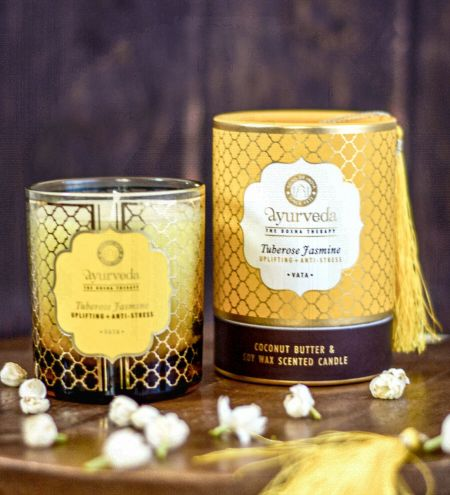 Tuberose Jasmine  Luxurious Veda Scented Candle in Brown Colored Glass Jar