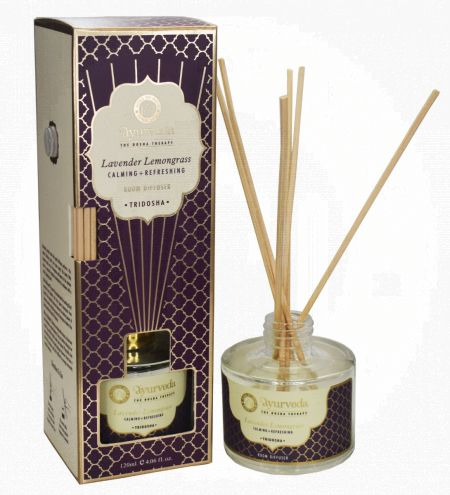 120 ml. Lavender Lemongrass  Luxurious Veda Reed Diffuser in Round Glass Bottle