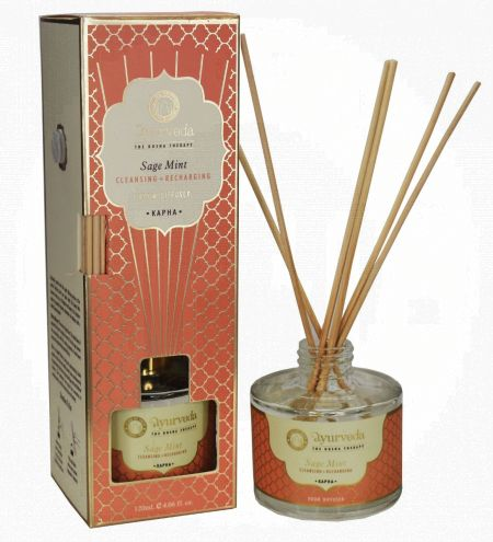120 ml. Sage Mint  Luxurious Veda Reed Diffuser in Round Glass Bottle