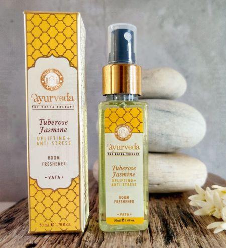 Tuberose Jasmine Luxurious Veda Room Freshener  in Square Bottle