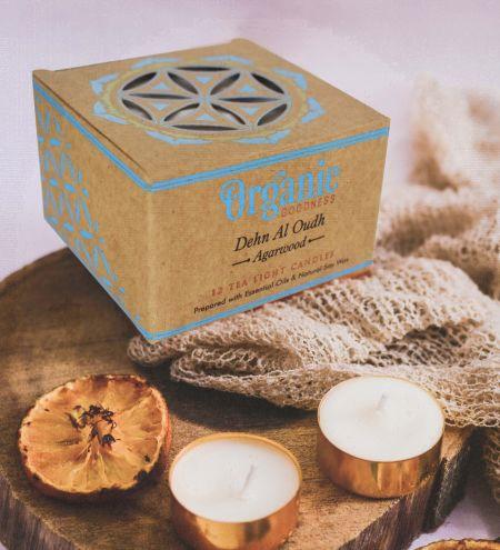10 g. Dehn Al Oudh - Agarwood Organic Goodness Tea Light Candle in Metal Capsule (Set of 12)