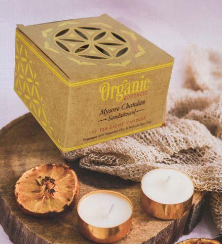 10 g. Mysore Chandan - Sandalwood Organic Goodness Tea Light Candle in Metal Capsule (Set of 12)