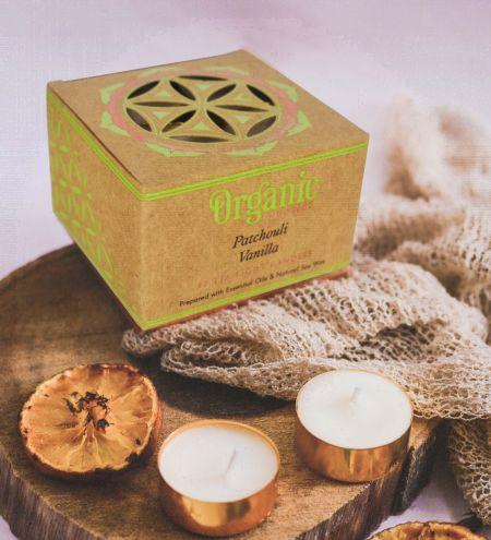 10 g. Patchouli Vanilla Organic Goodness Tea Light Candle in Metal Capsule (Set of 12)