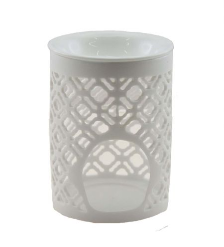 White Cylindrical Ceramic Burner with Oriental Jali