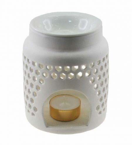 White Tapering Cylindrical Ceramic Burner with Hexagonal Jali & Detachable Top