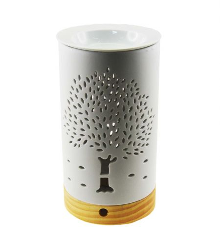 White Cylindrical Electric Bulb Ceramic Burner with Banyan Tree Jali and Detachable Wooden Finish Base