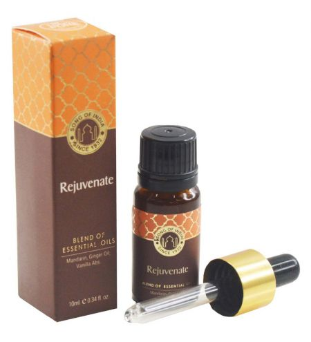 Rejuvenate Essential Oil Blend in Amber Glass Bottle With Golden Dropper