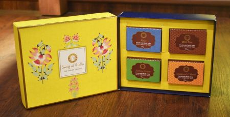 Yellow Luxurious Veda Handmade Glycerin Soap Gift Box (Set of 4)