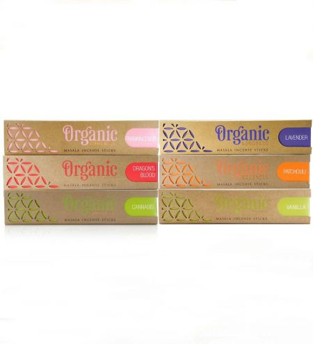 Organic Masala Incense Sticks Prime Combo (Set of 6) - Cannabis, Dragon's Blood, Frankincense, Lavender, Patchouli, Vanilla