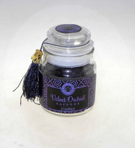 Velvet Orchid Bakhoor Bar in Glass Jar with Tassel