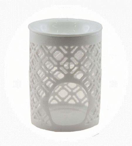 White Cylindrical Ceramic Burner with Oriental Jali