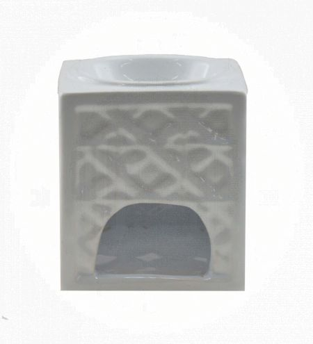 White Rectangular Ceramic Burner with Knot Jali