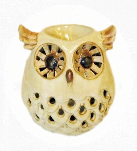 Cream Colored Owl Ceramic Burner