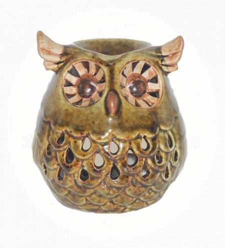 Green Colored Owl Ceramic Burner