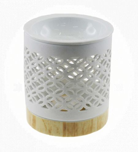 White Cylindrical Ceramic Burner with Overlapping Circle Jali & Detachable Wooden Finish Base