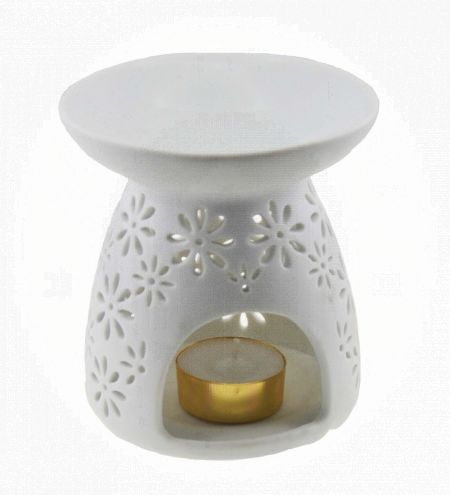 White Round Ceramic Burner with Floral Jali