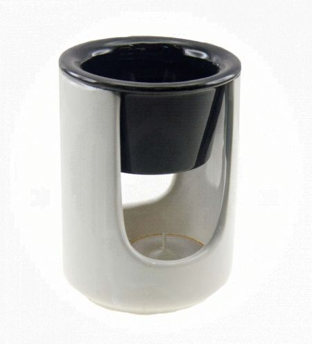 White U Base Cylindrical Ceramic Burner with Black Top Cup