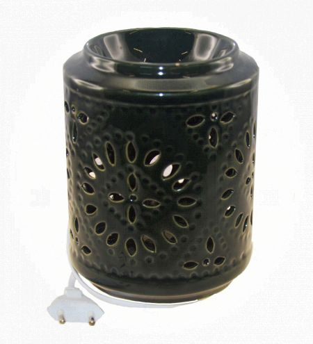 Dark Green Cylindrical Electric Bulb Ceramic Burner with Leaf Jali in Round