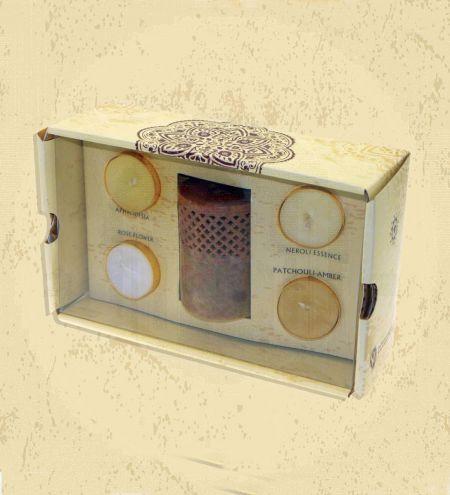 Filigree Stone Burner 4 Tea Light Gift Set