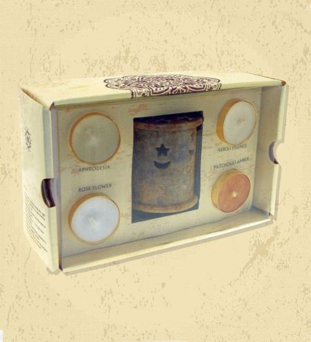 Star Moon Stone Burner 4 Tea Light Gift Set