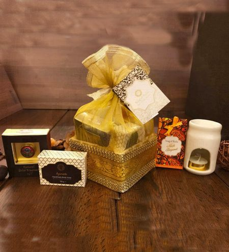 Golden Organza Gift Basket