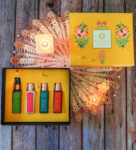 Song of India Body Care Gift set - Handwash, Lotion, Hand Sanitizer and Disinfect Spray