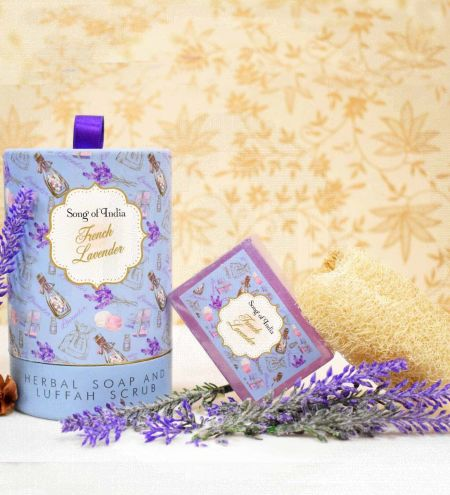 French Lavender Handmade Glycerin Soap with Luffah