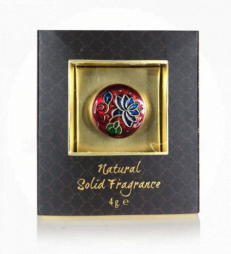 Wild Rose Solid Perfume in Brass Cloisonne Jar