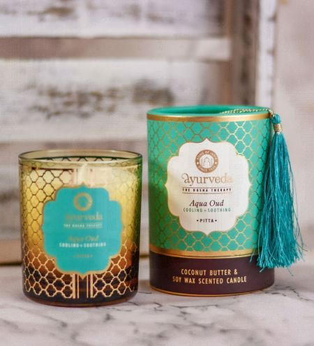 Aqua Oud  Luxurious Veda Scented Candle in Brown Colored Glass Jar