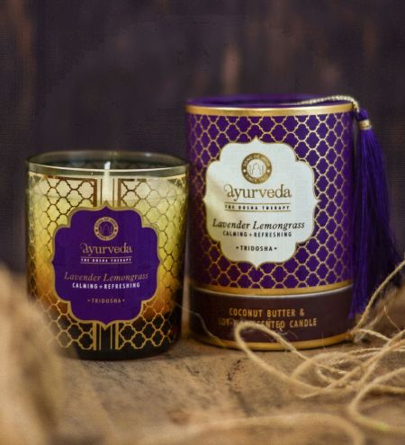 Lavender Lemongrass  Luxurious Veda Scented Candle in Brown Colored Glass Jar