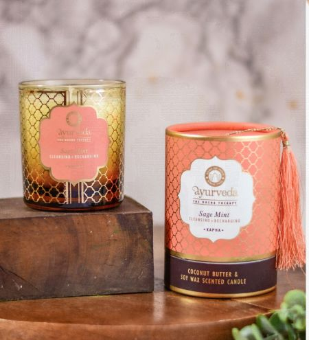 Sage Mint  Luxurious Veda Scented Candle in Brown Colored Glass Jar