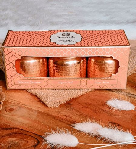 Luxurious Veda Scented Candle in Copper Plated Metal Jar with Lid (Set of 3)