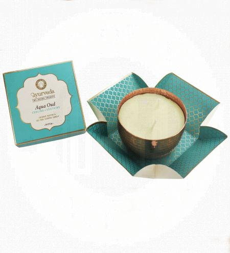 Aqua Oud  Scented Candle in Copper Plated Metal Jar with 2 Wicks