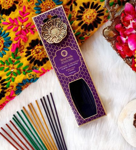 Lavender Lemongrass  Luxurious Veda Incense Sticks with Holder
