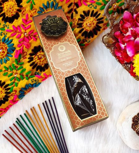 Sage Mint  Luxurious Veda Incense Sticks with Holder