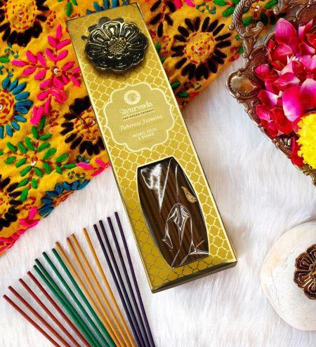 Tuberose Jasmine  Luxurious Veda Incense Sticks with Holder