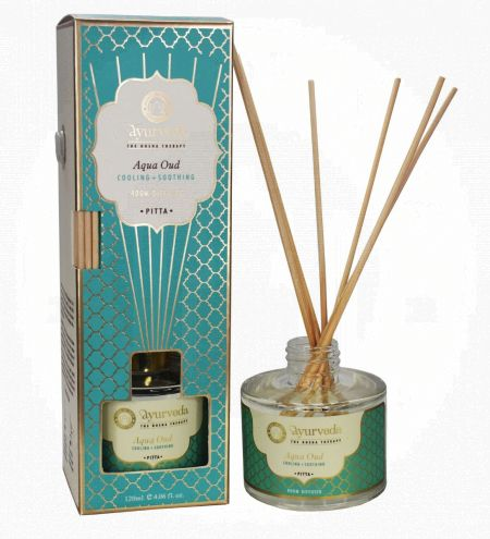 120 ml. Aqua Oud  Luxurious Veda Reed Diffuser in Round Glass Bottle