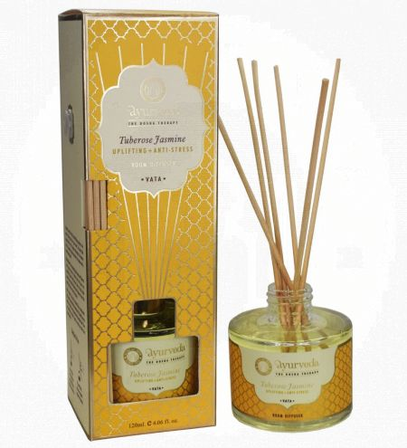 120 ml. Tuberose Jasmine  Luxurious Veda Reed Diffuser in Round Glass Bottle