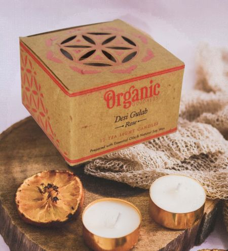 10 g. Desi Gulab - Rose Organic Goodness Tea Light Candle in Metal Capsule (Set of 12)