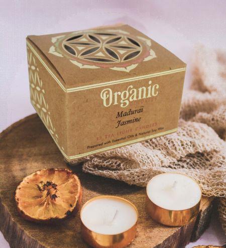 10 g. Madurai Jasmine Organic Goodness Tea Light Candle in Metal Capsule (Set of 12)