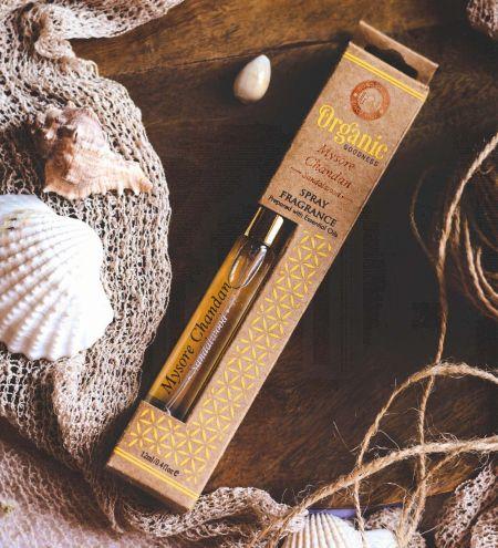 12ml. Mysore Chandan - Sandalwood Organic Goodness Fragrance Spray with Gold Pump